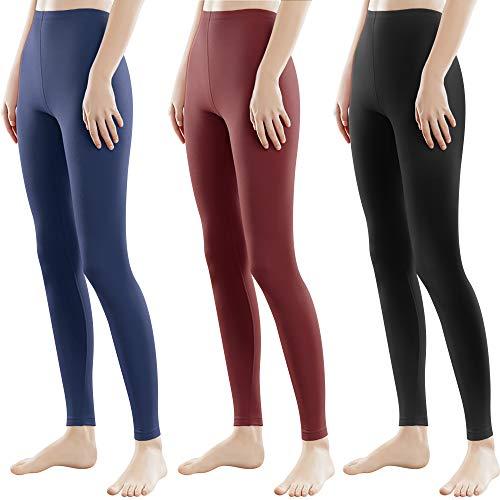 Libella 3 Piezas Mujer Leggins Largos Deportivas Multicolor con Cintura de Altura Ajustado Hecho de algodón 4108 Negro Vino Rojo Azul Marino XL