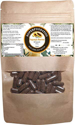 Papaya Kerne Kapseln 90 Stück bei 40° kontrolliert getrocknet - Rohkostqualität - Ohne Zusatzstoffe - Garantiert rein - Gluten - Laktosefreie Papaya Samen - Papain/Milde Schärfe
