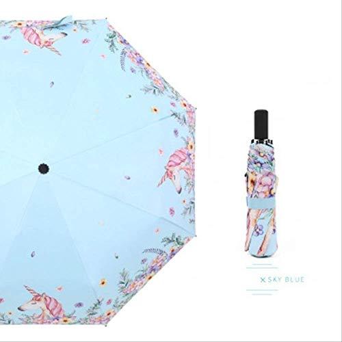 NJSDDB paraplu Eenhoorn 8k Drievoudige Paraplu Regen Zon Vrouwen Parasol Vrouwelijke Plegable Paraguas Mujer Winddichte Mini Paraplu