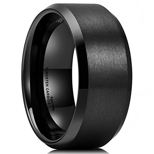 King Will BASIC Men Wedding Black Tungsten Ring 10mm Matte Finish Beveled Polished Edge Comfort Fit11
