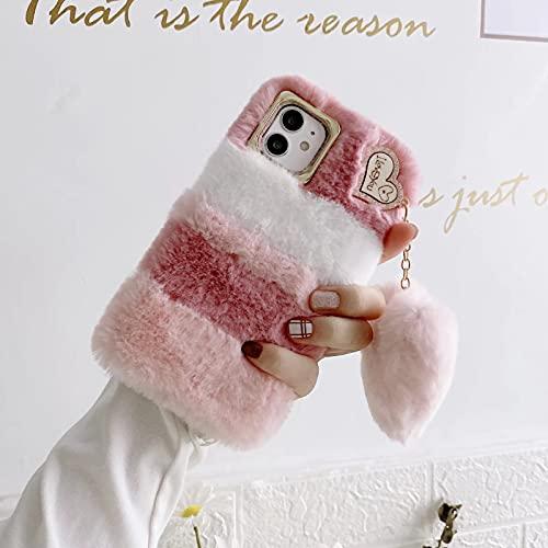 Miagon Funda de peluche para Samsung Galaxy S20 FE, funda de móvil para niña, suave, silicona, piel sintética, con bonito colgante de corazón, color blanco y rosa