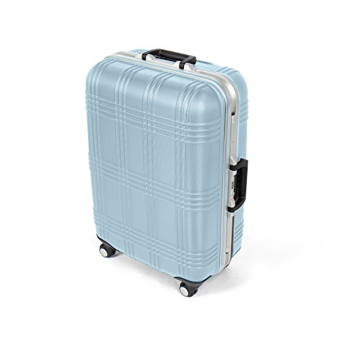 MasterGear Luggage with ABS Hard Shell and Aluminium Frame – Size M (65 x 45.5 x 25 cm ) Suitcase with 4 Spinner Wheels (360 degrees) in Blue – TSA Lock