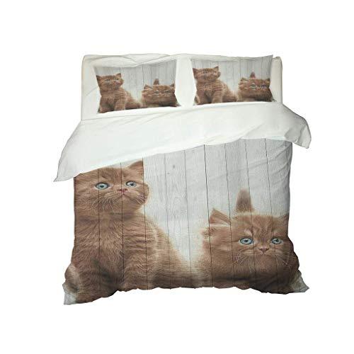 FHMSNDN Funda nórdica, colcha, exquisita impresión 3D, dos lindos patrones de gatito, funda nórdica ligera y transpirable (135 x 200 cm + 1 funda de almohada)