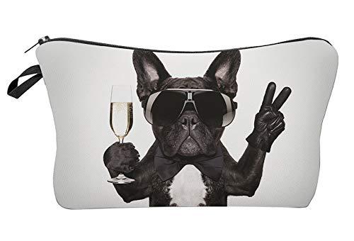 Modische Kulturtasche Kosmetikbeutel Schminktasche Make-Up Bag Kulturbeutel Wasserabweisend Originelle Print-Motive für Reisen, Urlaub und Alltag (French Glamour Bulldog)