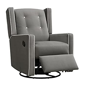 Baby Relax Mikayla Swivel Gliding Gray Microfiber Recliner