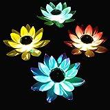 SOLUSTRE Farol flotante de flor de loto LED artificial, iluminación para estanque, piscina, jardín, festival, Navidad, Acción de Gracias, decoración, color aleatorio