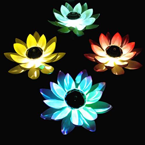 SOLUSTRE Schwimmende Lotus Laterne Solarleuchte Lotus LED Künstliche Lotusblüte Schwimmleuchten Teichleuchte Pool Teich Garten Festival Weihnachten Erntedankfest Dekoration Zufällige Farbe
