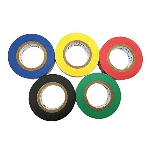6 cintas aislantes de PVC de colores variados retardantes de llama, 15 m