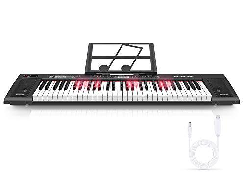 Magicfun Teclado Electrónico 61 Teclas, Teclado de Piano Digital Portátil con Atril, 200 Ritmos, 200 Tonos y Modo de Enseñanza de Iluminación LED para Niños y Adultos Principiantes