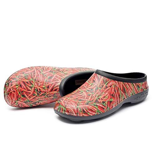 backdoorshoes Chilli Design Mens Size UK 8-14 EU 42-48 Waterproof Garden Clog Shed Shoe (UK13 / EU47)