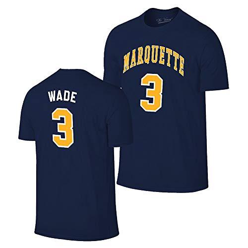 Elite Fan Shop Dwyane Wade Retro Marquette Basketball Jersey Tshirt - X-Large - Dwyane Wade Navy