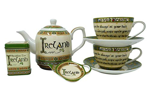 Royal Tara Irish Tea Set of Teapot with Celtic Knots & Ireland Breakfast Loose Leaf Black Tea Blend Shamrock in Reusable Tin & Tea Bag Holder & 2Traditional Irish Blessing Bone China Cup and Saucer