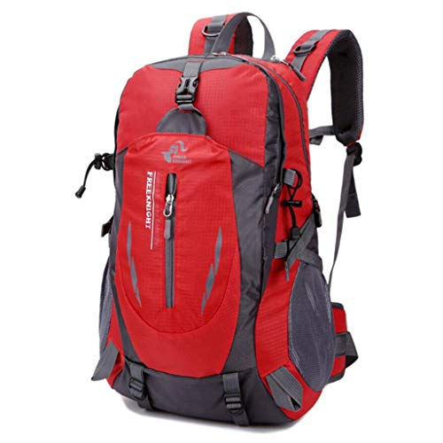 SHRAY 36-55L Mountaineering Outdoor Bag Leisure Sport Travel Backpack on Foot Camping Waterproof High Capacity Multifunction Backpack Red