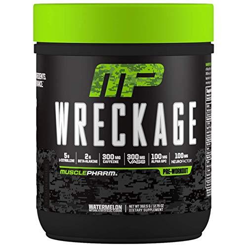 Muscle Pharm Wreckage – Suplemento previo al entrenamiento - Citrulina - Té verde - Ginseng - Astragalus - Beta Alanina - Taurina - Tirosina - Café verde - Paquete de 1 x (362g, Watermelon)