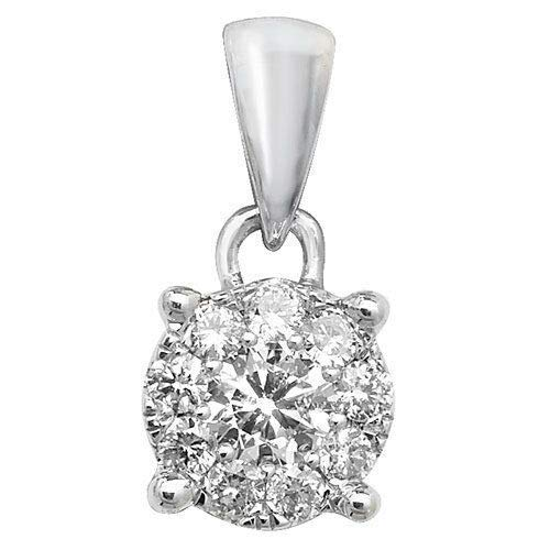London Jewellery Quarter Diamond Solitaire Pendant White Gold 0.20ct Premium Diamond Brilliant Set