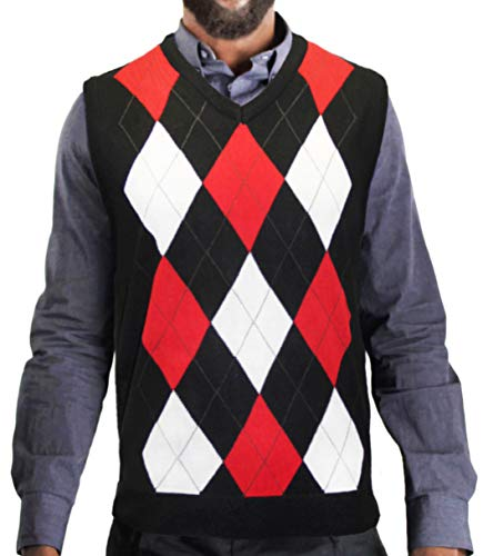 Blue Ocean Men's Argyle Sweater Vest-X-Large Black/White