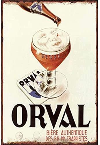 Orval Biere Blechschild Wanddekor Metallplakat Retro Plaque Warnschild Handwerk für Office Cafe Club Bar