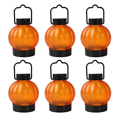 CeFurisy Farol de calabaza 6 piezas de luces de calabaza de Halloween con mango colgante y base estable, decoración de Halloween sin llama de calabaza velas para Halloween, Navidad, Acción de Gracias