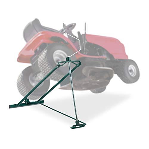 Relaxdays Rasentraktor Hebevorrichtung, 400 kg, Kippvorrichtung Aufsitzmäher, stufenloser Neigungswinkel, Stahl, grün
