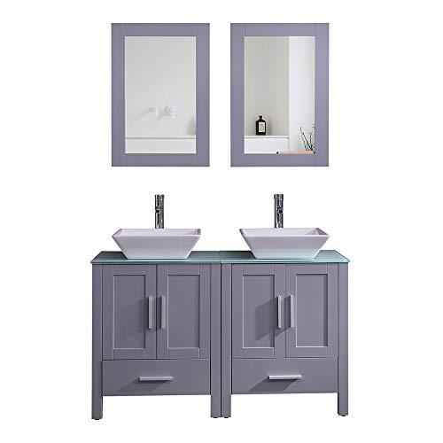 Goodyo Modern Gray Bathroom Vanity Cabinet Combo Double Sink Vanity-48 inch