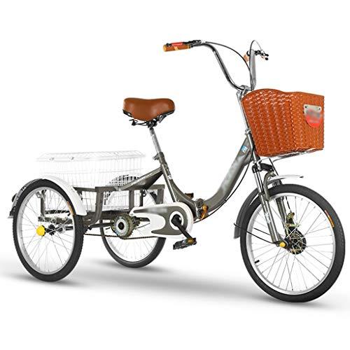 ZFF 20 Pulgadas Triciclo Adultos Triciclo Adultos Plegable con Cestas 3 Ruedas Bicicleta para Compras Picnic Deportes Al Aire Libre (Color : Gray)