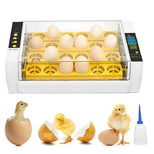 ZYCX123 24 Huevo Incubadora Digital Inteligente Huevo Hatcher con Huevo automática de Torno y Control de Humedad Temperatura de Pollo Pato Aves del Reino Unido Plug Productos para el Hogar