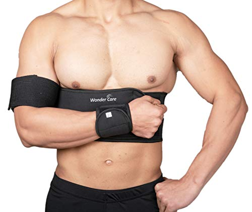 Wonder Care-Left Right Shoulder Immobilizer Arm Sling Elastic Brace for Clavicle Collar Bone Dislocation Subluxation Shoulder stabilizer Compression Brace After Rotator Cuff Surgery - Black-Size 3
