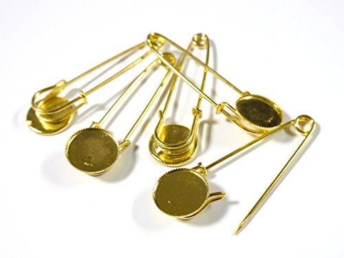 紗や工房 台座付ブローチピン ラウンド 5本 ゴールド 約19mm ピン約65mm カブトピン 安全ピン ブローチ金具 レジン台 副資材 手芸材料 素材