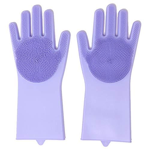 Guantes de Limpieza de Silicona 2 uds, Guantes mágicos multifunción para Lavar Platos de Silicona para Cocina, hogar, Lavado de Silicona-Light Purple