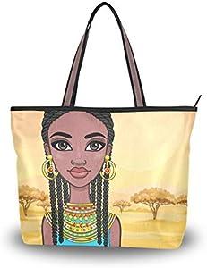 NaiiaN Bolso de mano con correa de peso ligero Hermosa niña africana con ropa antigua para mujeres, niñas, señoras, monedero para estudiantes, bolsos de compras, bolsos de hombro