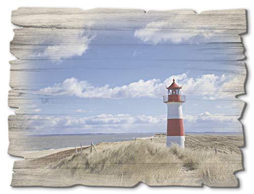 Artland Wandbild aus Holz Shabby Chic Holzbild rechteckig 40x30 cm Querformat Strand Nordsee Küste Meer Düne Gräser Leuchtturm Sylt T9ML