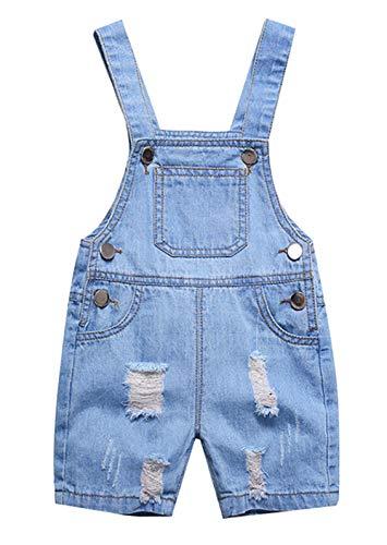 Happy Cherry Kinder Latzhose Jungen Mädchen Kurze Jeans Hosen Denim Stretch Strampler Overall mit Träger - Größe 100cm