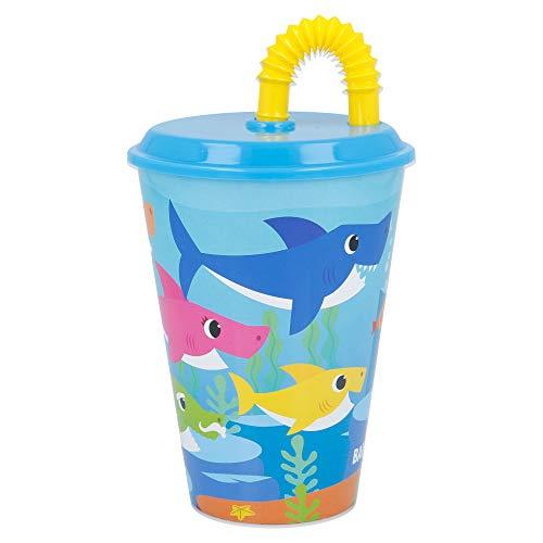 BABY SHARK   Vaso Reutilizable con Tapa y Pajita para niños  Vaso infantil de plástico - 430 ml- sin BPA