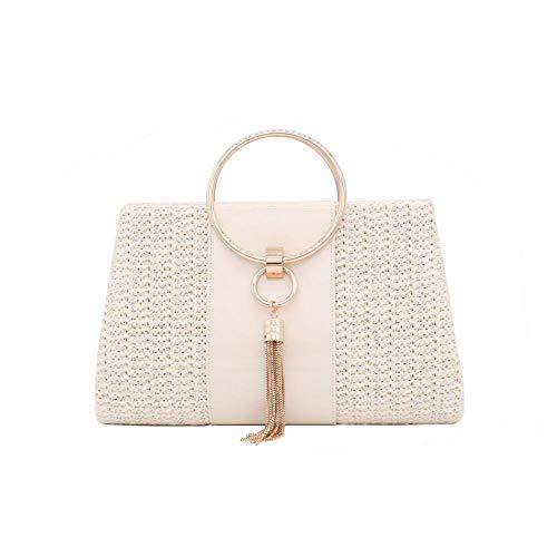 Straw Handbag Evening Bag Clutch Purses for Women, Fashion Summer Beach Tote Tassels Straw Clutch (Off White)