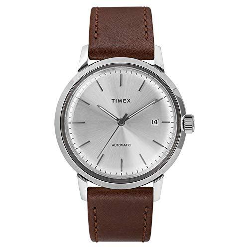Timex Automatisches braunes Lederarmband mit silberfarbenem Zifferblatt TW2T22700