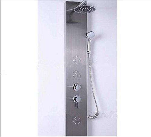 Gowe Messing Dusche Kopf 30,5cm LED Farbwechsel Duschsäule Duschpaneel Massagedüsen Nickel gebürstet