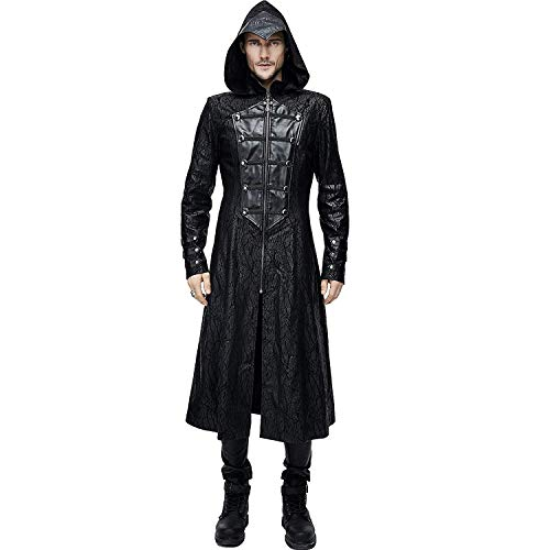 Devil Fashion Assassin?s Creed Black Leather Gothic Punk Military Cloak Coat for Men (4XL)