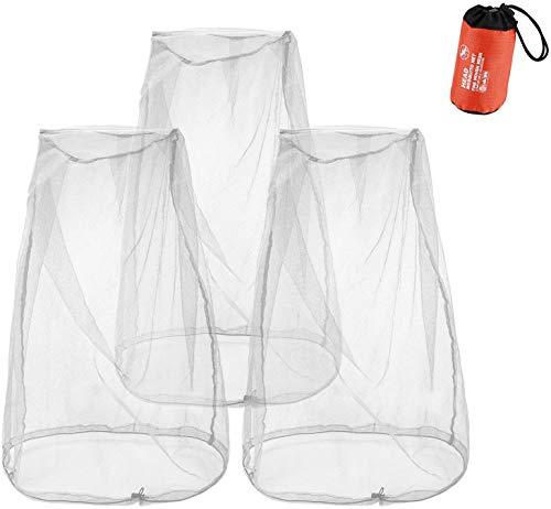 ProCase 3 uds. Mosquitera de Cabeza con Cordón, Cubierta Protección de Malla para Cara Cuello contra Insectos, Protector de Red Antimosquitos para Acampada Cazador Pescador al Aire Libre -Gris