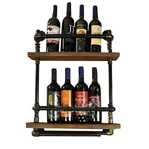 Soporte organizador de botelleros American Country Loft Creativo Pipa de agua Colgante de pared Wine Bar Bar Bar Restaurante Hierro labrado Soporte para exhibición de portavasos Estantes de exhibición