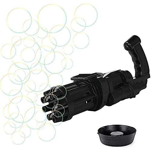 SONG Pistolas de Burbujas,Máquina Automática de Burbujas para Niños, Pistola de Burbujas Gatling Eléctrica para, Máquina de Fabricación de Burbujas de Gran Cantidad de 8 Orificios,Black