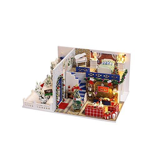 TEYUN Cabina de Bricolaje casa de muñeca de Azure de Navidad con jardín Hechos a Mano Juguetes educativos creativos