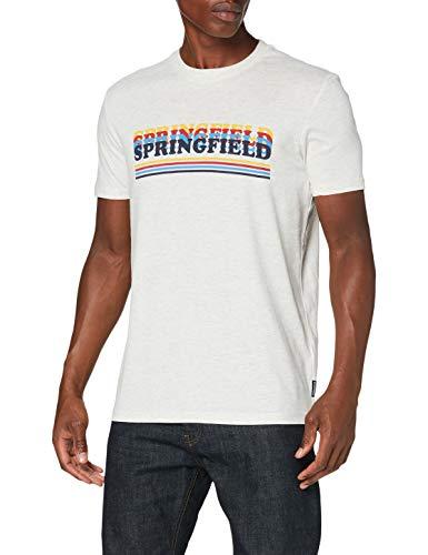 Springfield Web Naming Stripes-C/41 Camiseta, Gris (Dark_Grey 41), S (Tamaño del Fabricante: S) para Hombre