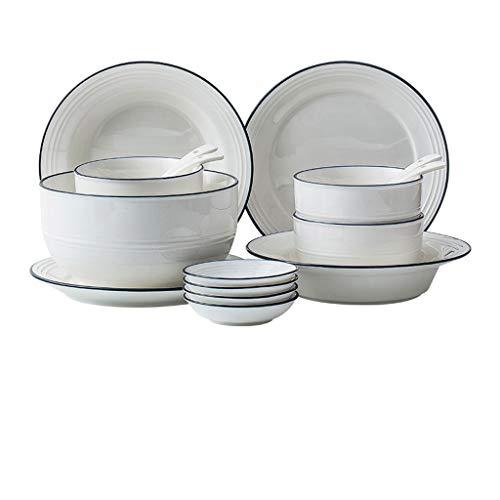 ZLDGYG Conjunto de Juegos de vajilla de cerámica, Conjunto de vajillas para el hogar, 9 Piezas de Placas de Placas, Servicio para 4, Adecuado para cenar o almuerzos (Color : B)