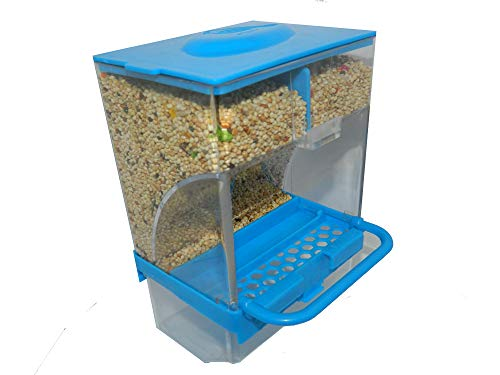 Bioaquastic No-Mess Bird Feeder Parrot Automatic Feeder Seed Pet Food Container Perch Cage Accessories for Budgerigar Canary Cockatiel Finch Parakeet (Blue)