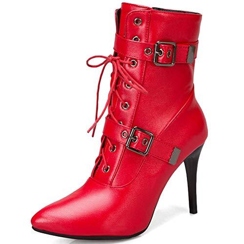 Cynllio - Stivaletti sexy con tacco alto, 9 cm, in pelle di serpente, da donna, con lacci, Rosso (3 rosso.), 44 EU