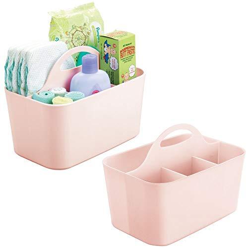 mDesign - Baby-organizer - voor babykamer en badkamer - voor het opbergen van speelgoed, badkamerbenodigdheden, shampoo, flesjes - met handvatten en afvoergaten/4 compartimenten - lichtroze
