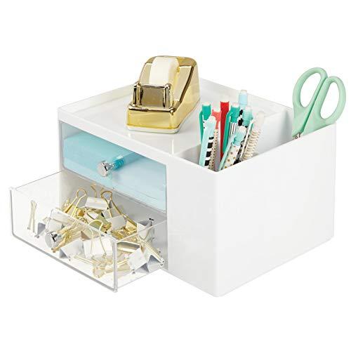 mDesign Organizer ufficio per riporre cancelleria – Pratica mini cassettiera da scrivania – 2 cassetti scrivania in plastica, 2 scomparti laterali e comodo vassoio in cima – bianco/trasparente