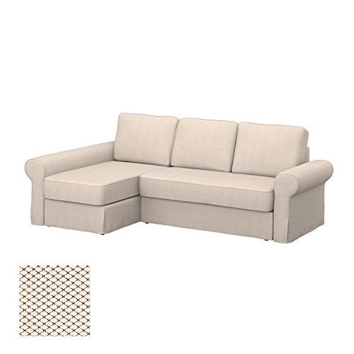 Soferia - IKEA BACKABRO Funda para sofá con chaiselongue, Nordic Creme