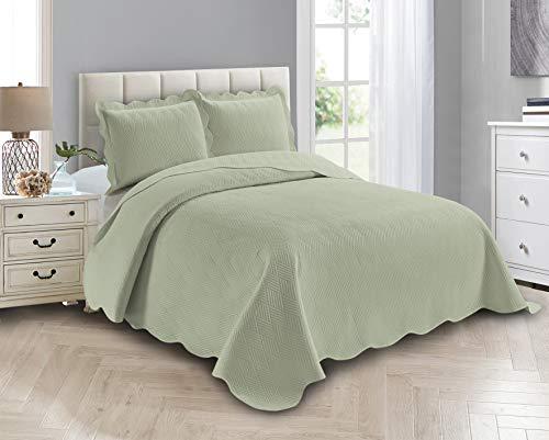 Smart Linen 3 Piece Solid Embossed Coverlet Bedspread Quilt Bedding Set Oversize New # Ashley (Full/ Queen, Light Green)