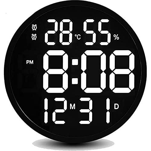 YTBLF Reloj De Pared LED De 12 Pulgadas con Calendario De Fecha, Reloj Despertador Digital con Pantalla LED, Carga USB, Brillo Ajustable, Cocina, Sala De Estar Familiar
